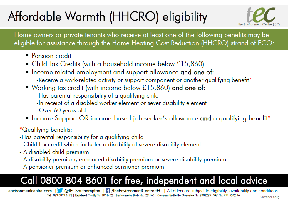 Affordable Warmth (HHCRO) eligibility