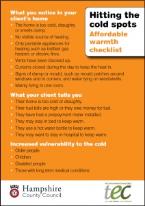 Affordable Warmth checklist